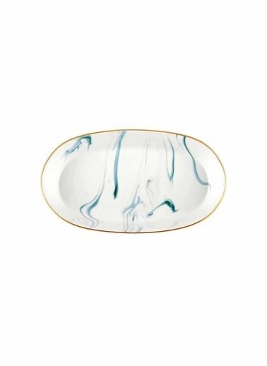 The Mia Lucid Oval Servis - 2li Set -15x25x4 Cm Cam Göbeği Mavi